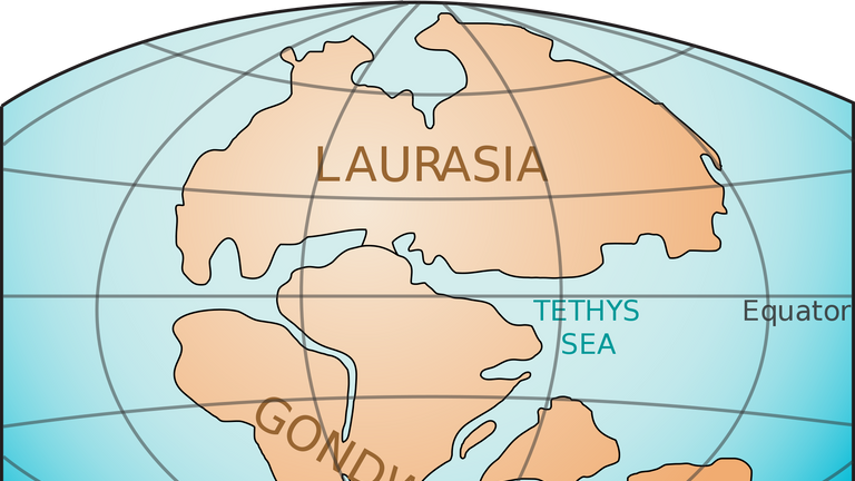 How the super-continents of Laurasia and Gondwana were divided. Pic: US Geological Survey via Wikimedia Commons