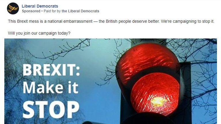 The Lib Dem advert edscribes Brexit as a 'national disgrace'. Pic: Lib Dems