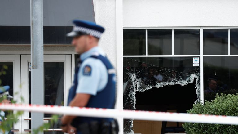 Officer at site of Linwood Mosque attack in Christchurch