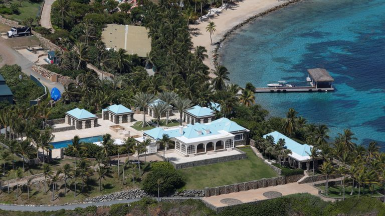 Little St. James Island, one of the properties of financier Jeffrey Epstein, is seen in an aerial view near Charlotte Amalie, St. Thomas, U.S. Virgin Islands July 21, 2019