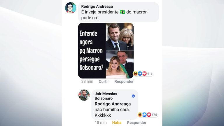 Mr Bolsonaro replied to the meme mocking the appearance of Brigitte Macron