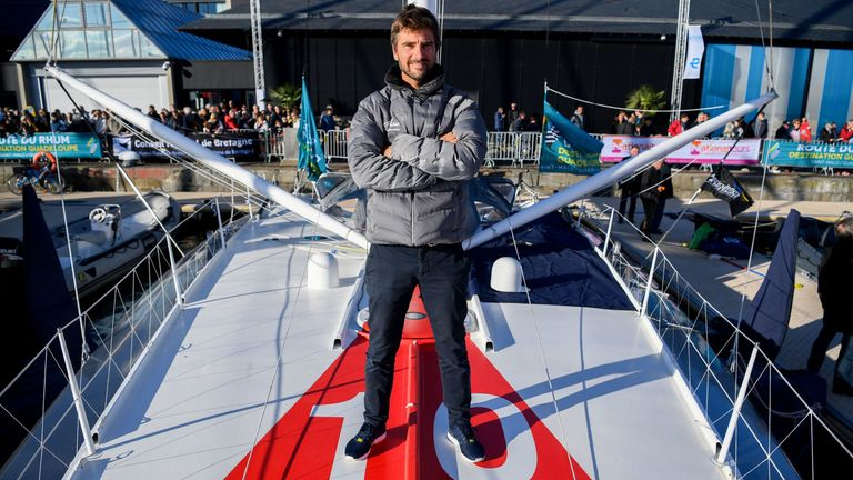 Skipper Boris Herrmann poses on a Imoca category monohull Malizia II yacht