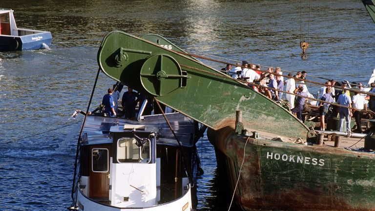 The Marchioness being raised after it sank on the River Thames in 1989