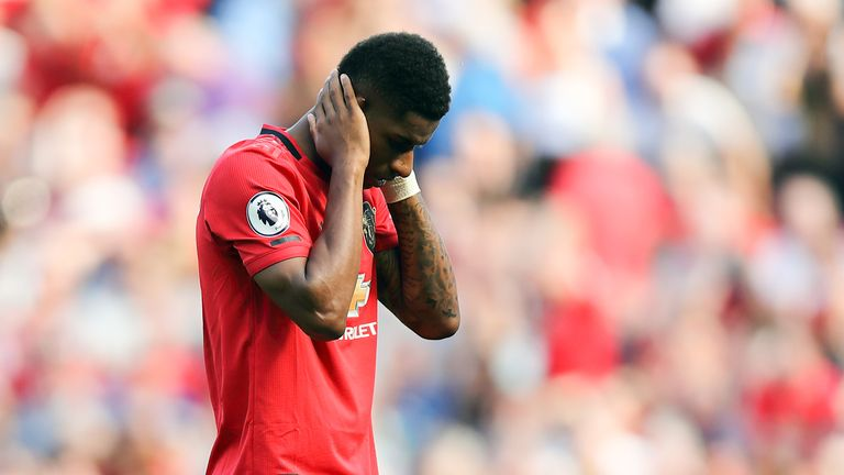 Rashford looked dejected after missing the penalty