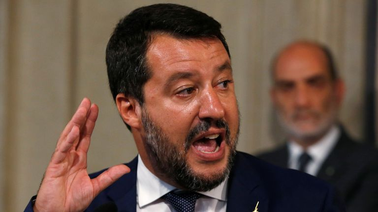 League leader Matteo Salvini  speaks to the media in Rome, Italy on Wednesday