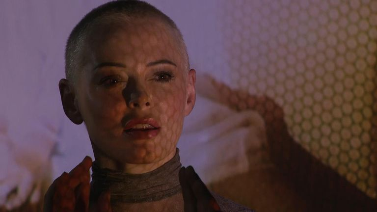 Rose McGowan rehearsing her new show Planet 9