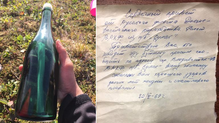 Russian sailor's Cold War message in a bottle found in Alaska