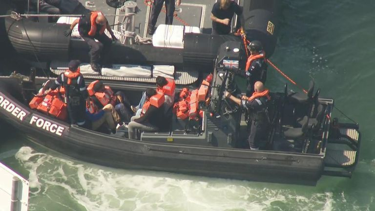 Sky News understands more than 20 migrants have been rescued in the English Channel by the Border Force.