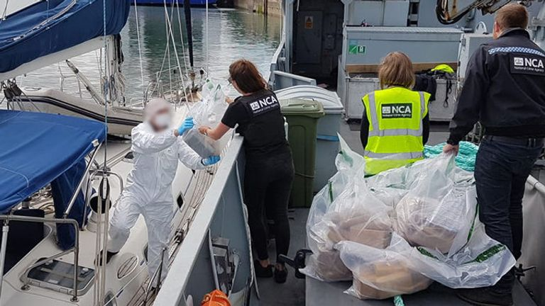 The yacht was brought into the port in Fishguard, Pembrokeshire, where police, the NCA and Border Force are investigating how much cocaine in on board