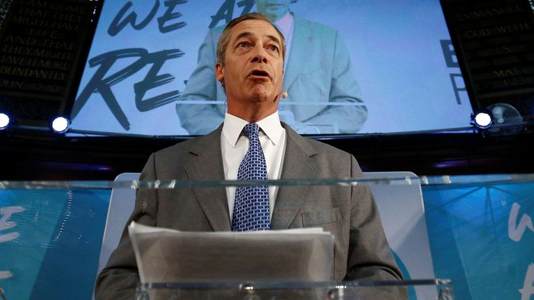 Brexit Party leader Nigel Farage speaks during a Brexit Party news conference in London
