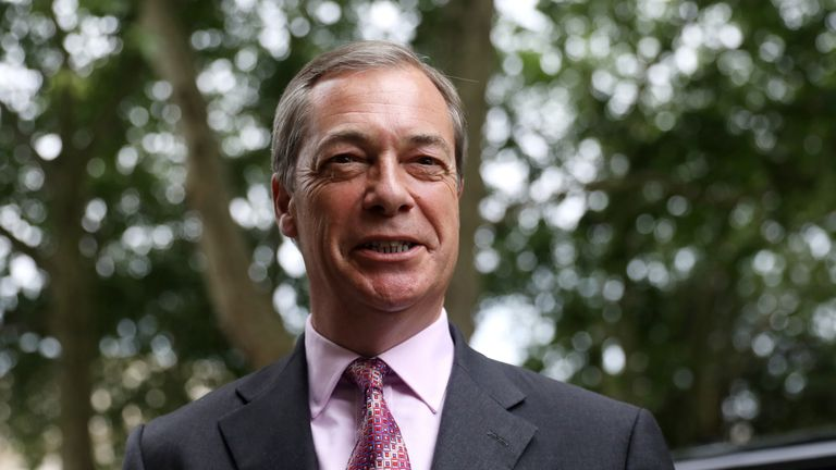 Leader of the Brexit Party Nigel Farage arrives at Brexit Party's news conference in London, Britain on 24 June, 2019