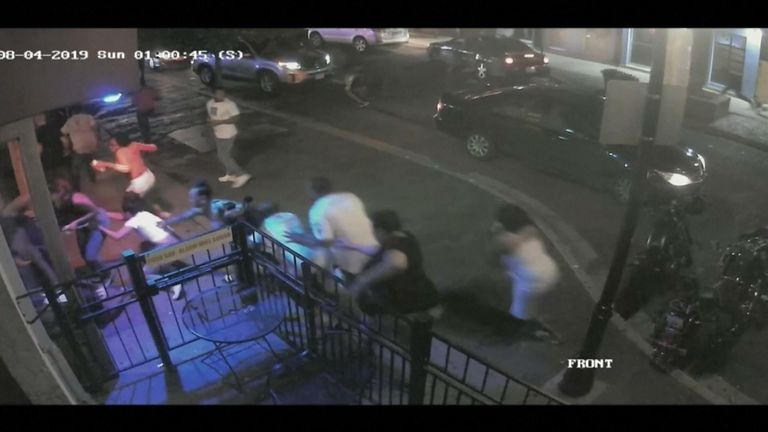 People have been seen on CCTV running away after a gunman opened fire in  Dayton, Ohio