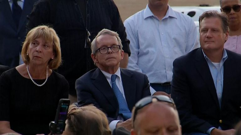 "A crowd chanted ""Do something"" at Ohio governor Mike DeWine as they gathered to honour the nine people who died in a mass shooting over the weekend."