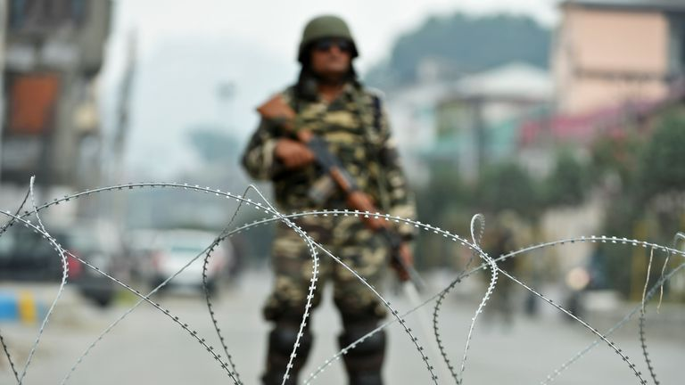 A member of the Indian army during a lock down in Srinagar