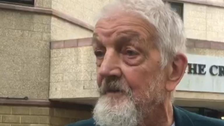 Road rage victim Paul Eva reacts outside court after his attacker is sentenced