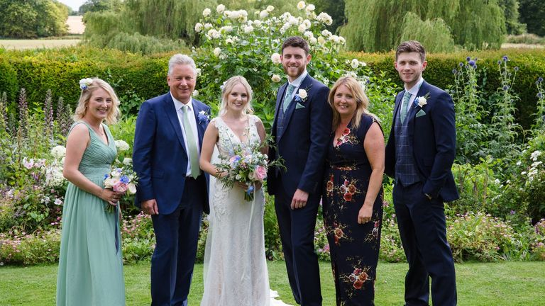 Andrew and his wife with his sister and father (left), and stepmum and brother (right)