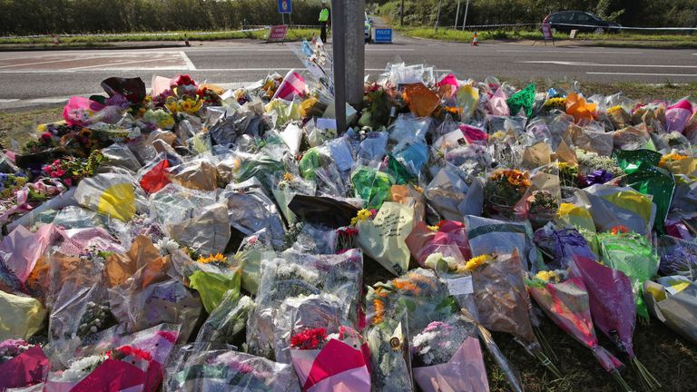 Tributes left near the scene near Ufton Lane, Sulhamstead, Berkshire