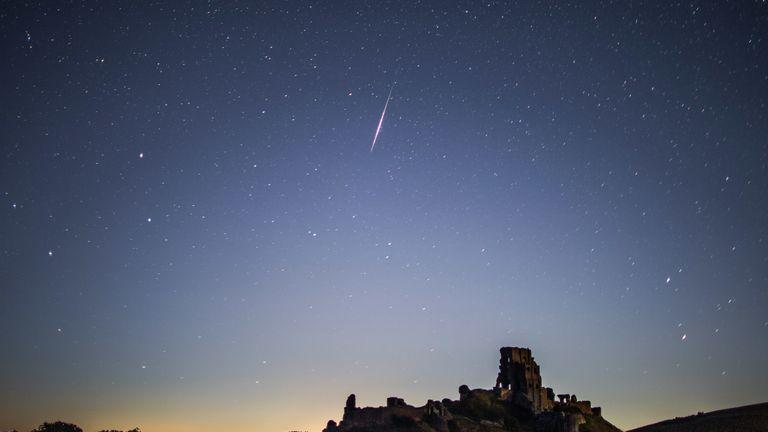 The 2016 Perseid meteor shower seen above Corfe Castle in Dorset