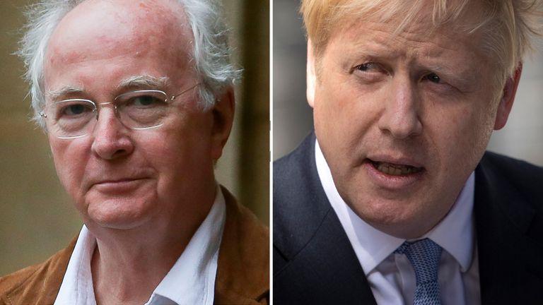 Sir Philip Pullman has denied advocating the hanging of Boris Johnson