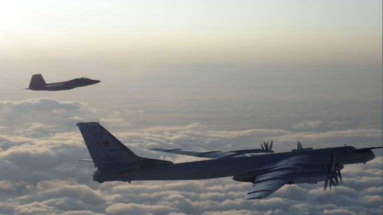 Russian bombers intercepted by US and Canadian fighter jets off the