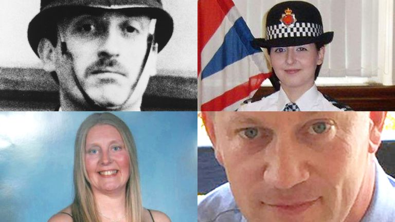(Clockwise from top left) PC Keith Blakelock, PC Nicola Hughes, PC Keith Palmer, PC Sharon Beshenivsky