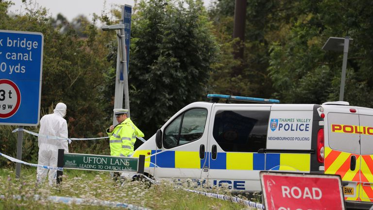 Police officers at the scene on Ufton Lane