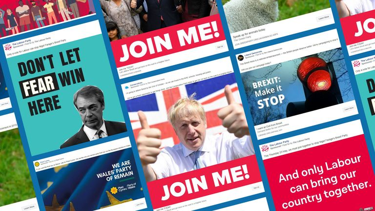 Boris Johnson features prominently on Conservative adverts, while Labour and the Lib Dems focus on Brexit