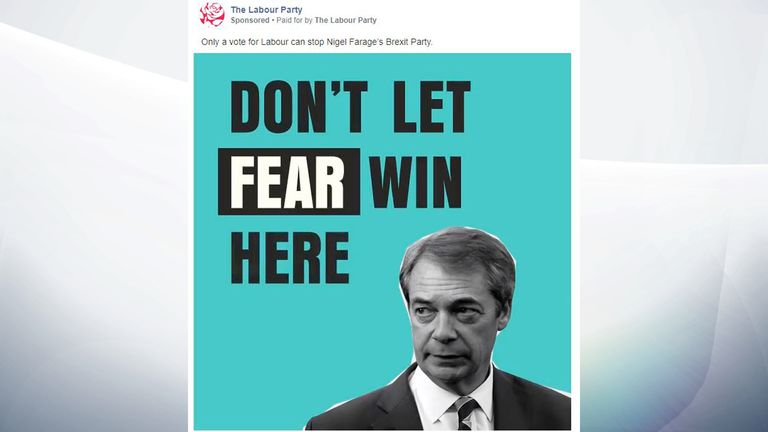 Labour's ads feature Brexit Party leader Nigel Farage. Pic: Labour Party