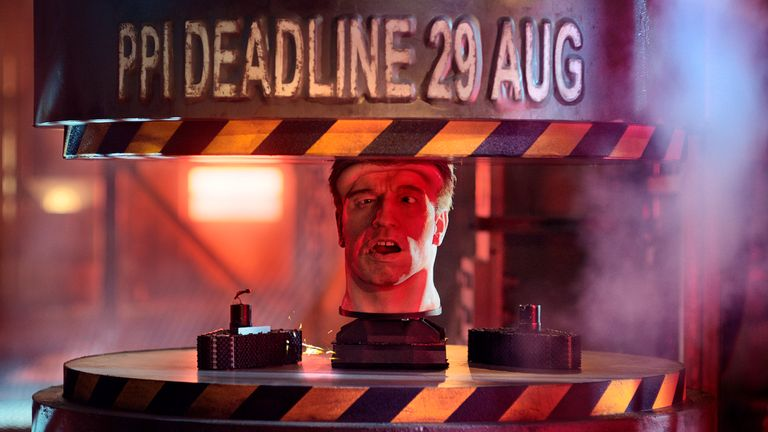 Undated handout file photo issued by the Financial Conduct Authority of the animatronic head of Arnold Schwarzenegger being placed in a hydraulic press during an advert to remind people how long they have left to complain about PPI, as people have just a week left to make a complaint about PPI to their provider, or they will miss out on their chance of a refund