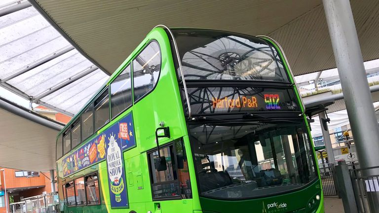 The bus number was changed to rainbow colours in support of Pride. Pic: @nparkandride