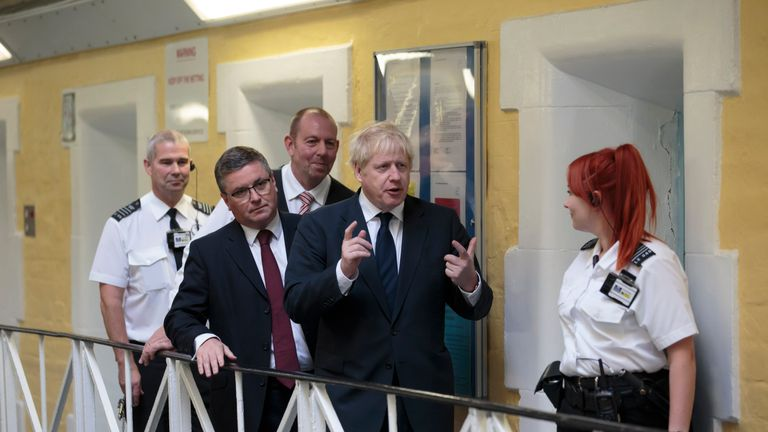 Prime Minister Boris Johnson during a visit to HMP Leeds