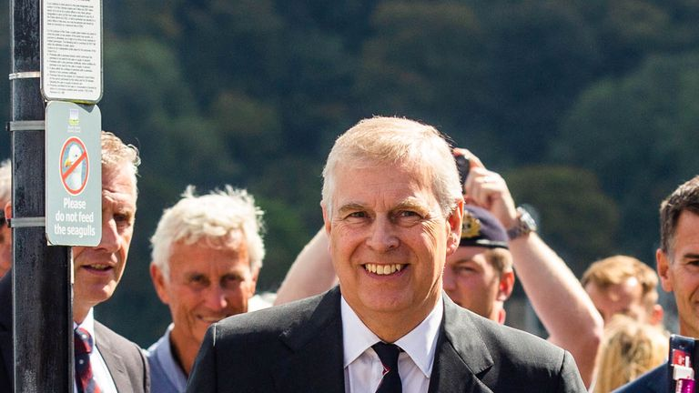 Prince Andrew is a patron for the Port of Dartmouth Royal Regatta. Pic: SWNS