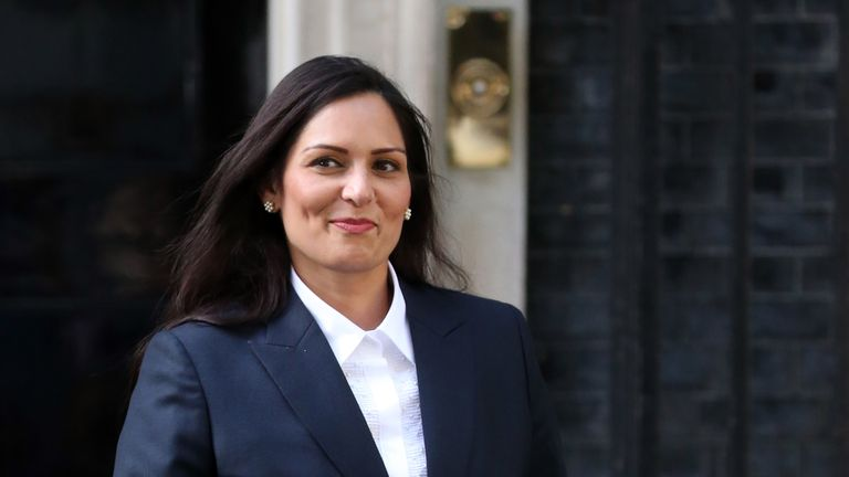 Britain's new Secretary of State for the Home Department Priti Patel leaves 10 Downing Street in London on July 24, 2019