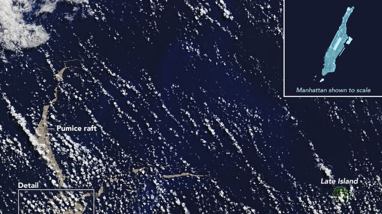 The raft of pumice is floating near Tonga. Pic: Joshua Stevens/ NASA Earth Observatory