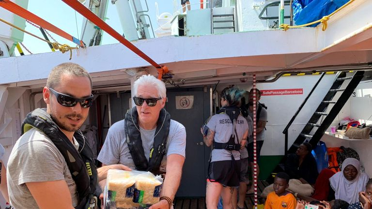 Actor Richard Gere visited the Open Arms rescue boat