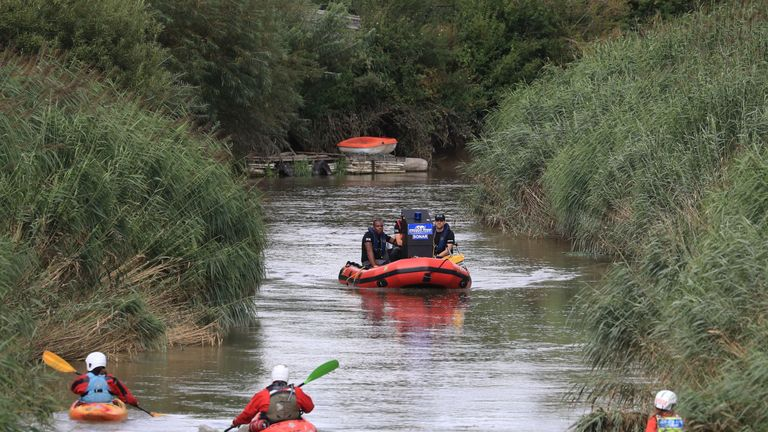 Specialist search groups search a section of the River Stour for missing six-year-old Lucas Dobson who fell into the river in Sandwich, on Saturday afternoon. PRESS ASSOCIATION Photo. Picture date: Sunday August 18, 2019. See PA story POLICE River. Photo credit should read: Gareth Fuller/PA Wire