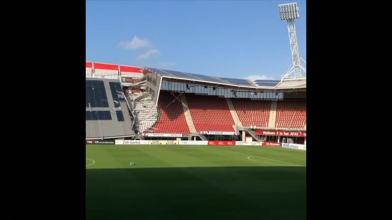Part of the roof has collapsed at Dutch club AZ Alkmaar's stadium as high winds buffeted the area.