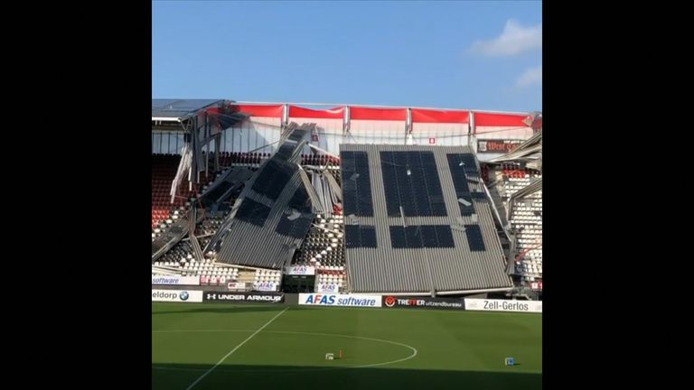 Roof partially collapses at Dutch stadium amid high winds. AZ Alkmaar's stadium