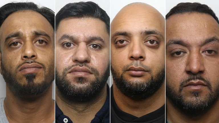 (L-R)  Sharaz Hussain, Masaued Malik, Aftab Hussain and Abid Saddiq. Pic: National Crime Agency