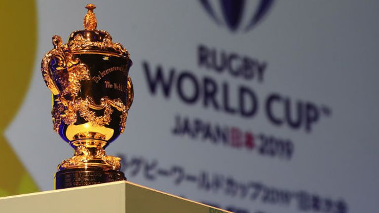 xxx attends the Rugby World Cup 2019 match schedule announcement at Grand Prince Hotel Shin Takanawa on November 2, 2017 in Tokyo, Japan.