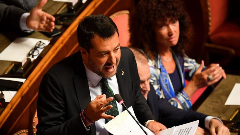 Deputy Prime Minister and Interior Minister Matteo Salvini delivers as speech at the Italian Senate, in Rome, on August 20, 2019