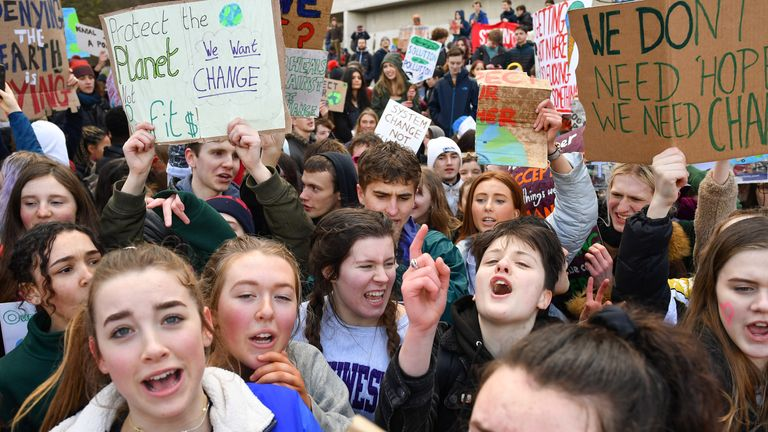 School at a protest outside the Scottish Parliament in March