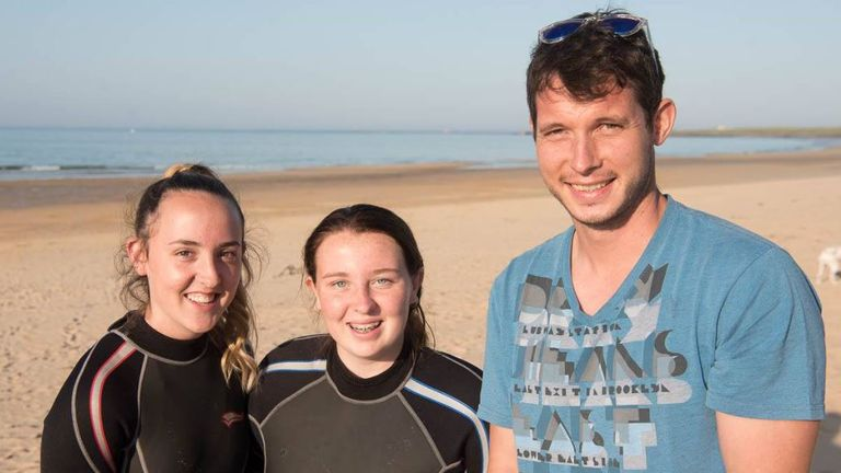 Isla, Eilidh and Keith Gray resuced the man and child
