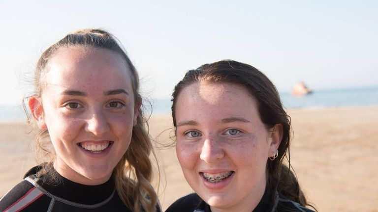 Sisters Isla (15) and Eilidh (14) at first thought the man was playing with his child. Pic: Fraserburgh Lifeboat