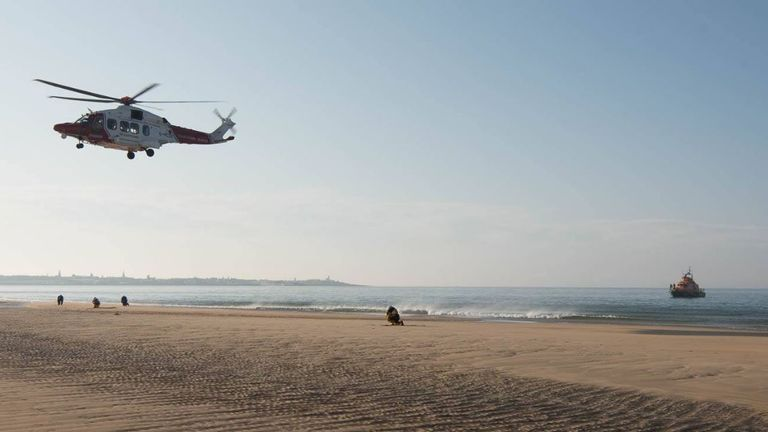 The man was airlifted to hospital. Pic: Fraserburgh Lifeboat