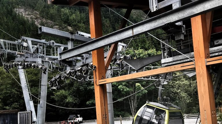 A car on the Sea to Sky Gondola ride lies on the floor after the cable broke, possibly deliberately cut