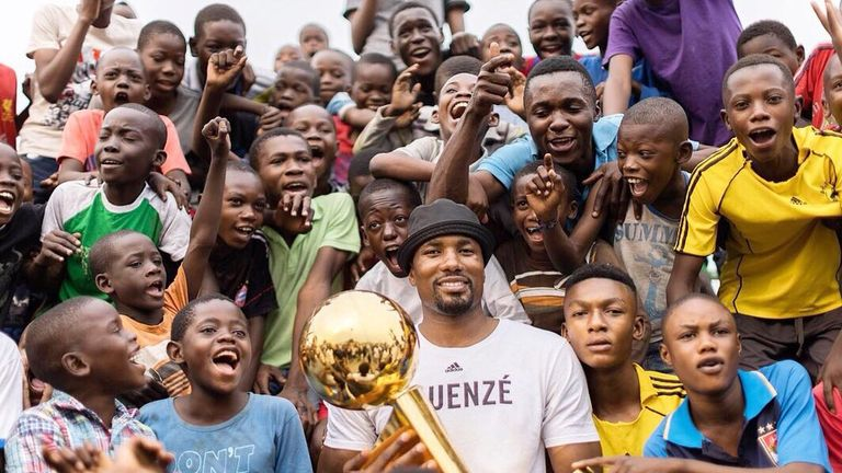 NBA star Serge Ibaka visited his home country of the DRC to celebrate winning the championship. Pic: @sergeibaka