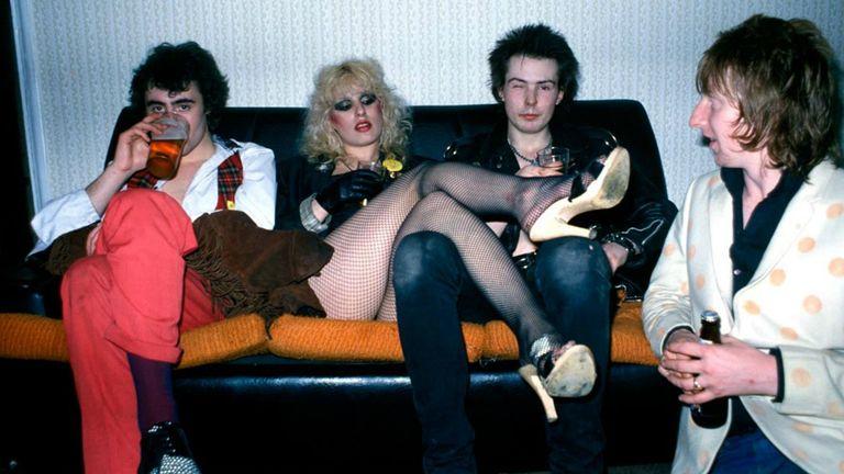 Glen Matlock, Nancy Spungen, Sid Vicious and Rat Scabies, in London, 1978. Pic: Denis O'Regan