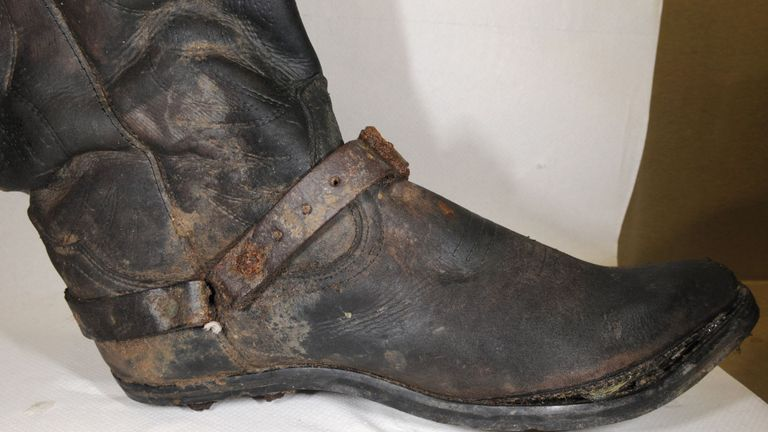 The boots were found next to the skeleton in a scrapyard. Pic: Essex Police