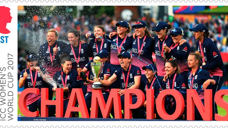 The women's team celebrations make one stamp